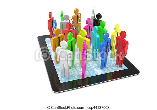 group of people figures on tablet PC. 3d rendering. - csp44137003