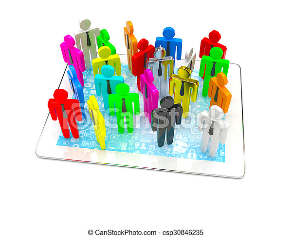 group of people figures on tablet PC, 3d render - csp30846235