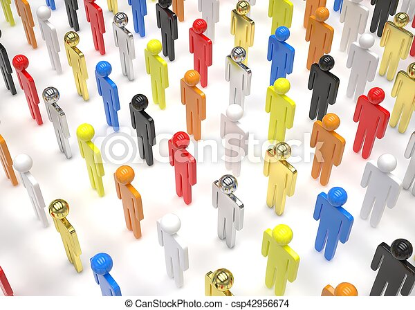group of people figures on white background. 3d rendering. - csp42956674