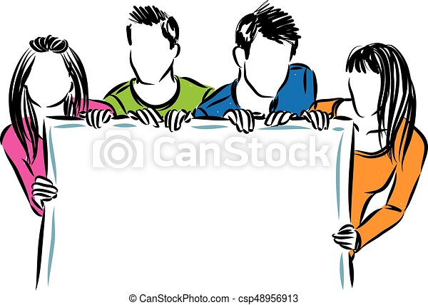 group of people holding a white board vector illustration - csp48956913