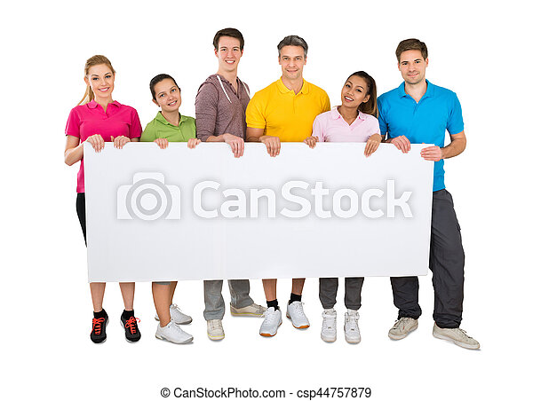 Group Of People Holding Banner - csp44757879