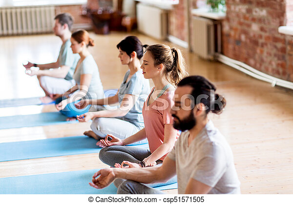 group of people making yoga exercises at studio fitness