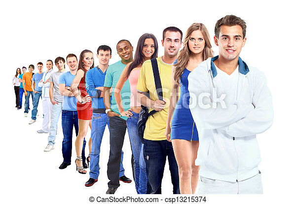Group of people on white - csp13215374