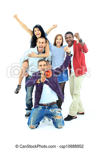 Group of people on white - csp10688952
