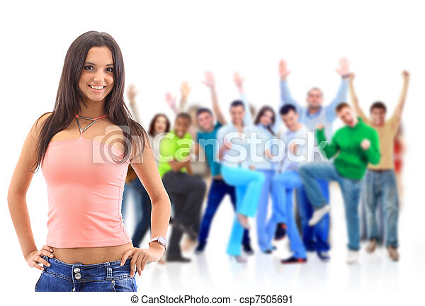 Group of people on white. Teenager - csp7505691
