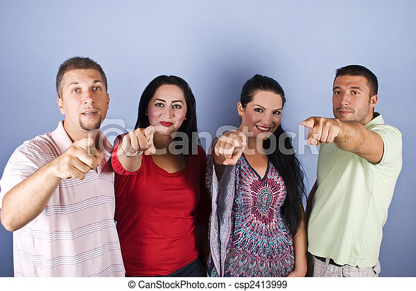 Group of people pointing - csp2413999