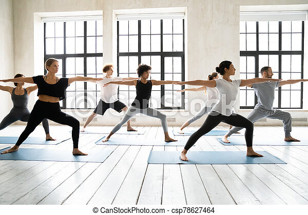 group of people practicing yoga asanas doing warrior two