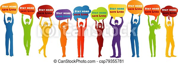 """Group of people silhouette with medical mask holding speech bubble with message """"stay home save lives"""". Quarantine of the covid-19 coronavirus infection pandemic. Contagion prevention - csp79355781"""