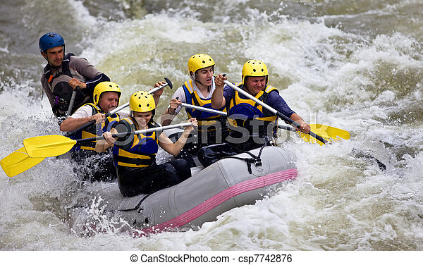 Group of people whitewater rafting - csp7742876