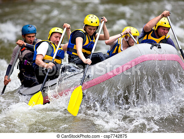 Group of people whitewater rafting - csp7742875