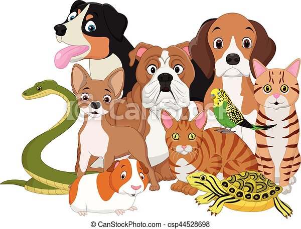 vector illustration of group of pets cartoon eps vectors search rh canstockphoto com Clip Art Group of Animals Pets at Home Clip Art