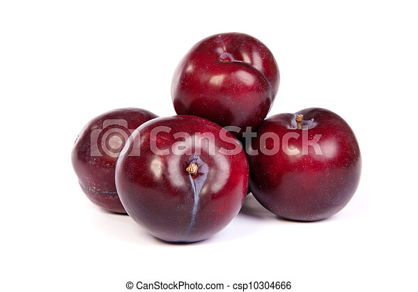 Group of plums  on white - csp10304666