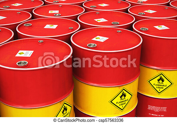Group of rows of red stacked oil drums in storage warehouse