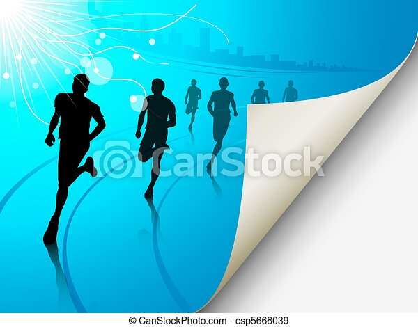 Group of runners on a blue cityscape background, with the page f - csp5668039