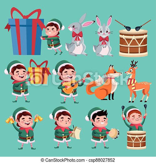 group of santa helpers characters with animals and instruments - csp88027852