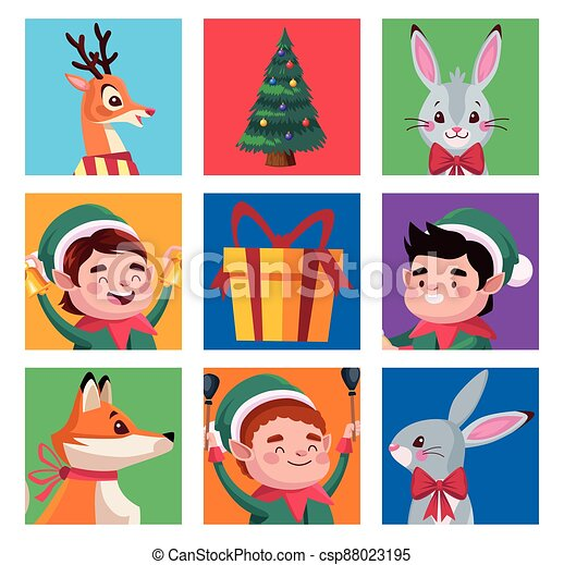 group of santa helpers with animals characters - csp88023195