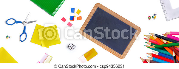 group of school supplies on white background concept back to school - csp94356231