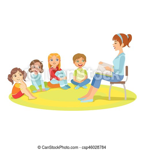 group of small kids sitting around the teacher reading a story cute