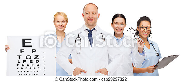 group of smiling doctors with eye chart - csp23237322
