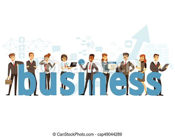 Group of smiling office people holding the word Business cartoon colorful vector Illustration - csp49044289