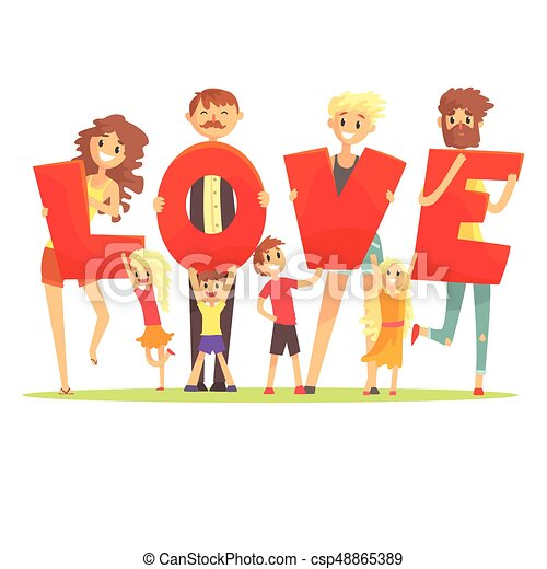 Group of smiling people holding the word Love cartoon colorful vector Illustration - csp48865389
