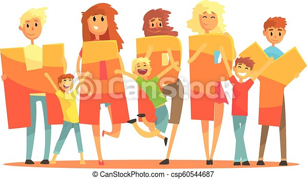 Group of smiling people holding the word Happy cartoon colorful vector Illustration - csp60544687