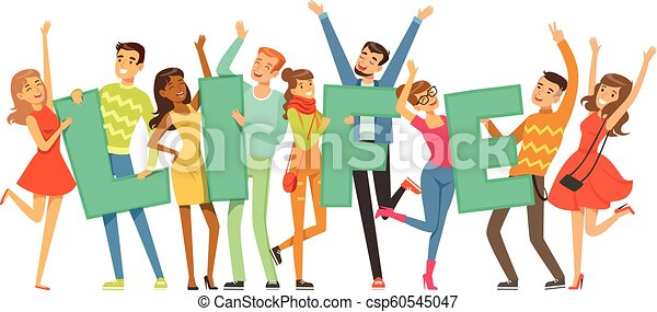 Group of smiling people holding the word Life cartoon colorful vector Illustration - csp60545047