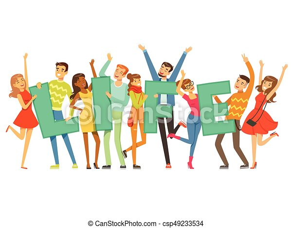Group of smiling people holding the word Life cartoon colorful vector Illustration - csp49233534