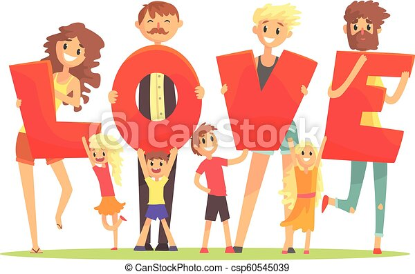 Group of smiling people holding the word Love cartoon colorful vector Illustration - csp60545039
