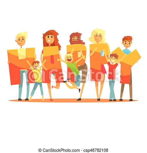 Group of smiling people holding the word Happy cartoon colorful vector Illustration - csp48782108