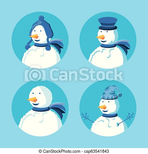 group of snowmen with hat winter - csp63541843