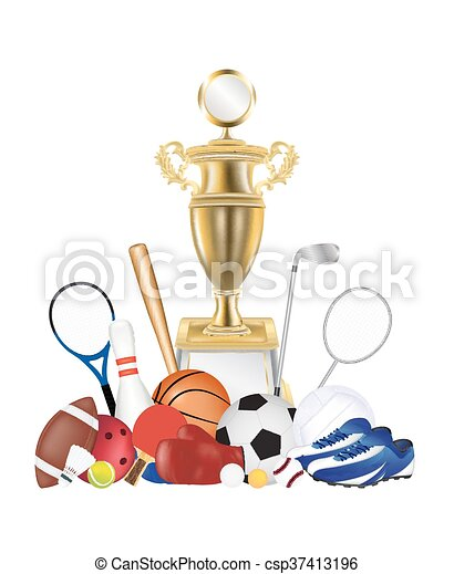 group of sport equipment with gold - csp37413196