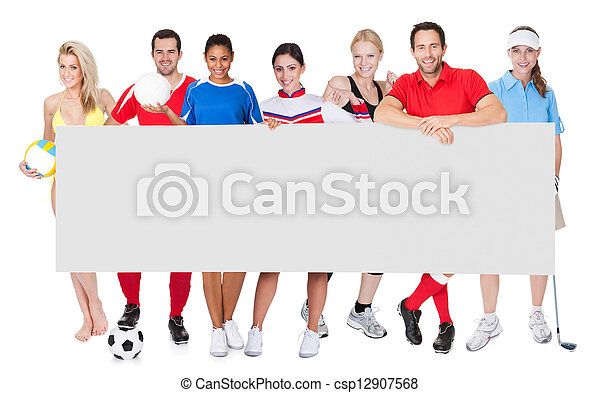 Group of sports people presenting empty banner - csp12907568
