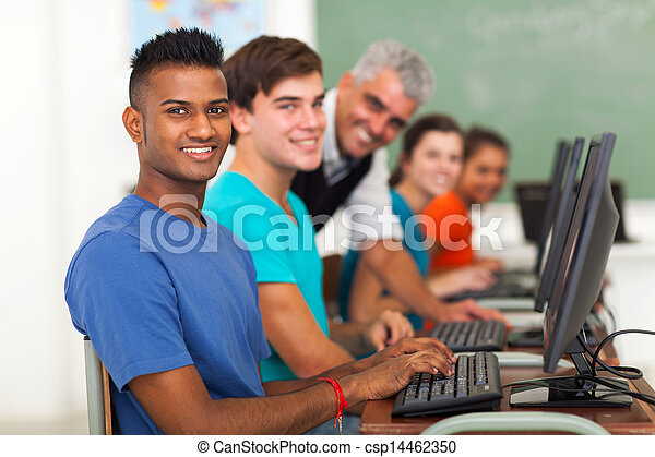 group of students and teacher looking at the camera - csp14462350