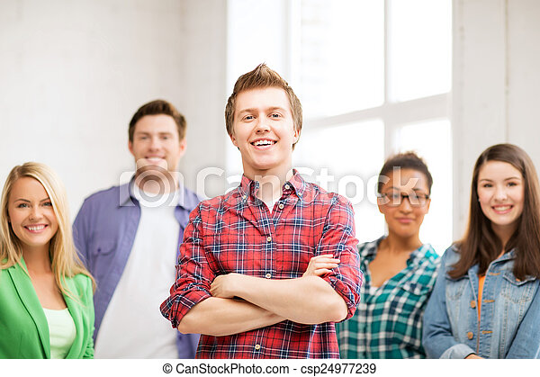 group of students at school - csp24977239