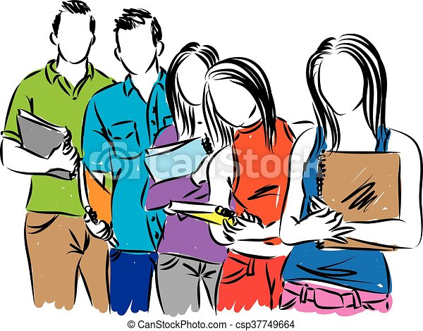 group of students illustration clip art vector search drawings rh canstockphoto com clip art students working together clip art students testing