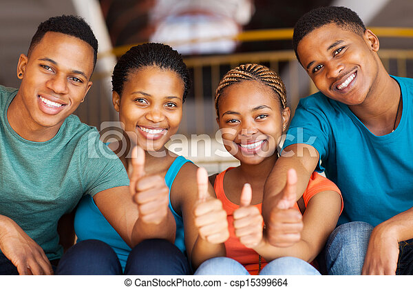 group of students with thumbs up - csp15399664