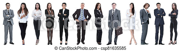group of successful business people isolated on white - csp81635585