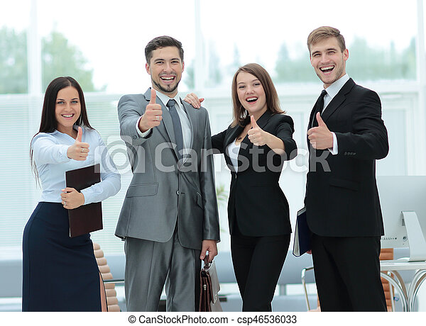 group of successful business people looking confident group of