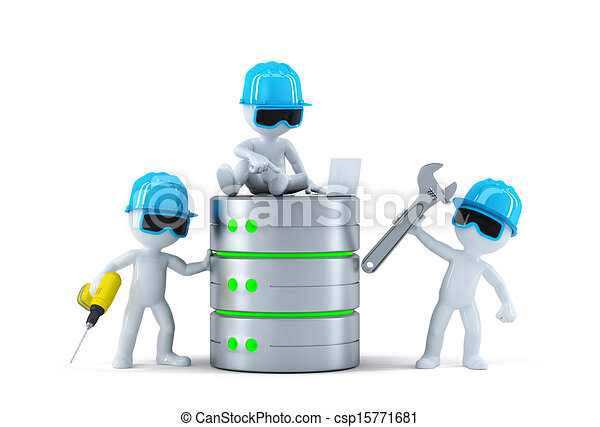 Group of technicians with data base. Technology concept - csp15771681