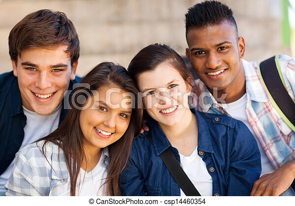 group of teen high school students - csp14460354