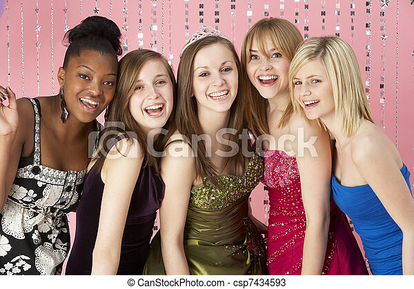 Group Of Teenage Friends Dressed For Prom - csp7434593