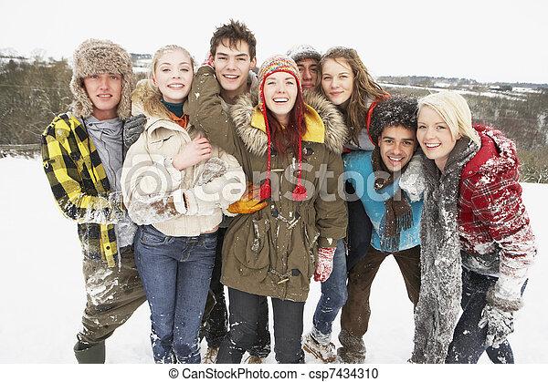 Group Of Teenage Friends Having Fun In Snowy Landscape - csp7434310