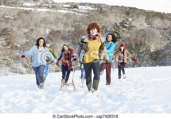Group Of Teenage Friends Sledging In Snowy Landscape - csp7428318
