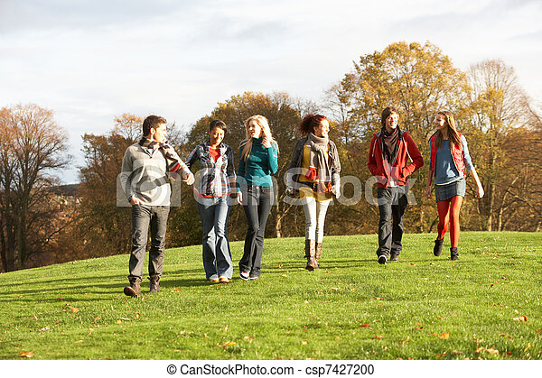 Group Of Teenage Friends Walking Through Autumn Landscape - csp7427200