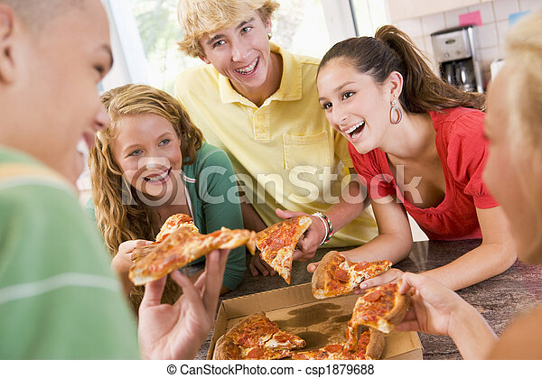 Group Of Teenagers Eating Pizza  - csp1879688