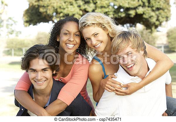 Group Of Teenagers Having Fun - csp7435471
