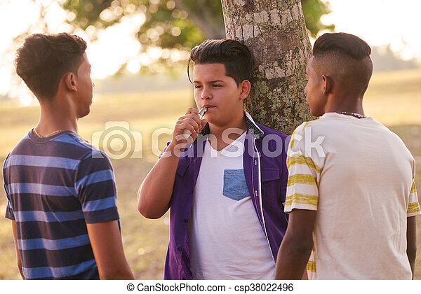 Group of Teenagers In Park Boy Smoking Electronic Cigarette - csp38022496