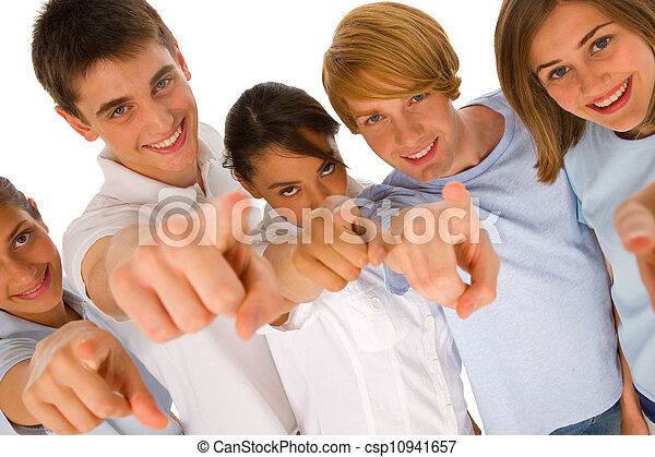 group of teenagers pointing - csp10941657