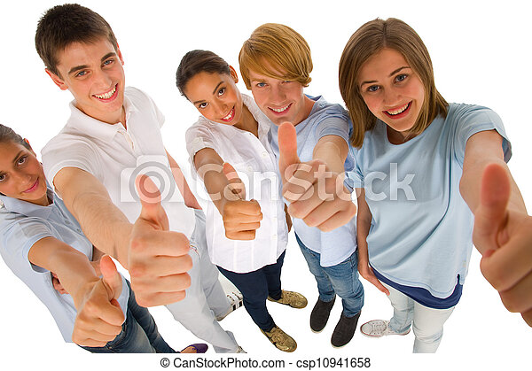 group of teenagers with thumbs up - csp10941658